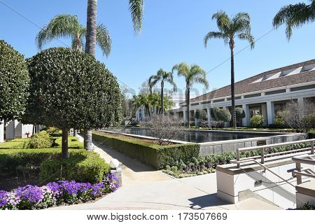 YORBA LINDA, CALIFORNIA - FEBRUARY 24, 2017: Gardens and Reflecting Pool at the Nixon Library and Birthplace. The presidential library and museum is final resting place of the 37th president.