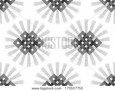 Seamless Pattern with silver endless knot and beam of light on white background. Buddhism symbol wallpaper.