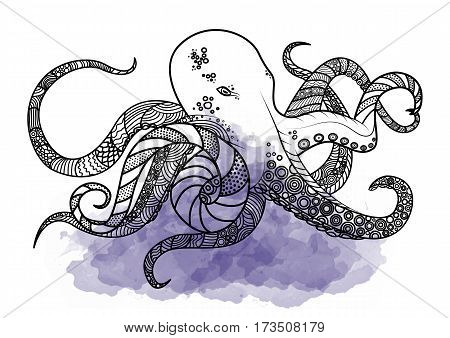 Line art hand drawing black octopus isolated on white background with violet watercolor blots. Doodle style. Tatoo. Zenart. Zentangle.Coloring for adults. Vector illustration.