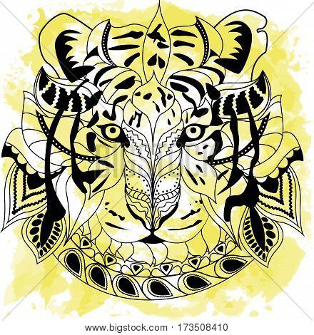 Line art hand drawing black tiger isolated on white background with yellow watercolor blots. Doodle style. Tatoo. Zenart. Zentangle.Coloring for adults. Vector illustration.