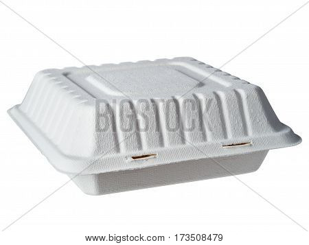 Isolated image of disposable take out container. Gray closed cardboard lunch box isolated on white background