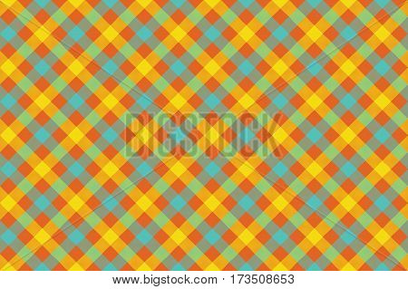 Color check diagonal fabric texture background seamless pattern. Vector illustration. EPS 10.