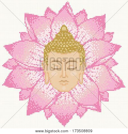 Mosaic with Buddha Head and Lotus on white background. Pattern for tile, textile print, patchwork. Scheme for cross stitch 120x120 sells and 12 basic colors.