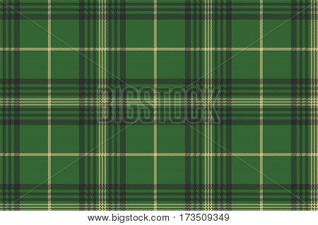 Green check plaid tartan seamless pattern. Vector illustration.