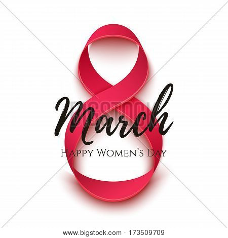 Abstract 8 March greeting card isolated on white. International Womens day background, invitation, brochure or poster template. Vector illustration.