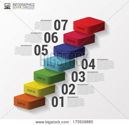 Abstract 3d stairs infographics or timeline template. Vector illustration.