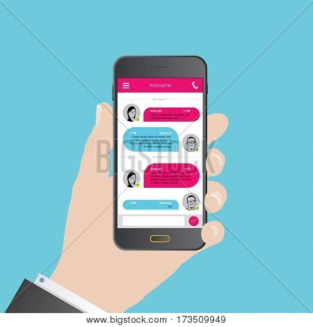 Sms messenger. Speech bubbles. Phone chat interface. Vector illustration