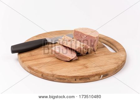 Luncheon Meat On The Wooden Board Isolated On White Background