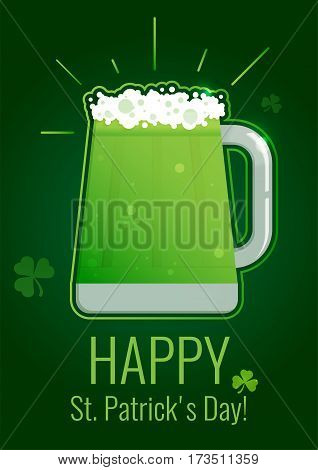 St. Patrick's Day greeting card with green beer on dark background with shamrock. Design template for poster, web banners ad, party invitation, article.