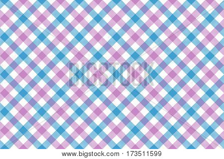 Pink blue check diagonal fabric texture background seamless pattern. Vector illustration. EPS 10.