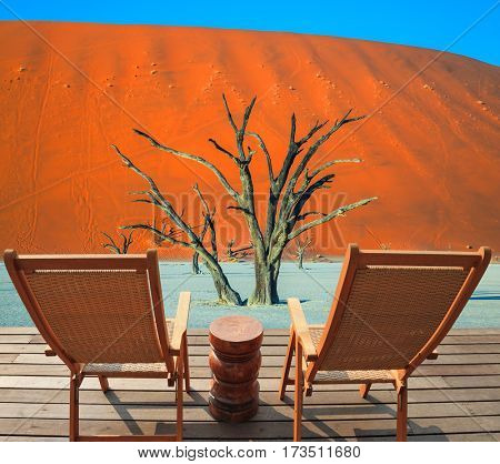 Two wooden folding chairs on a wooden platform. The bottom of dried lake Deadvlei, with dry trees. Tourism in Namib-Naukluft National Park, Namibia