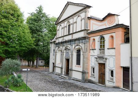 Mount Orta, Italy - 7 September 2012: Church of sacred Mount Orta on Piedmont, Italy