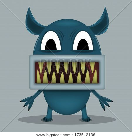 Angry horror monster for animation and comics with sharp teeth. Humor comic animal