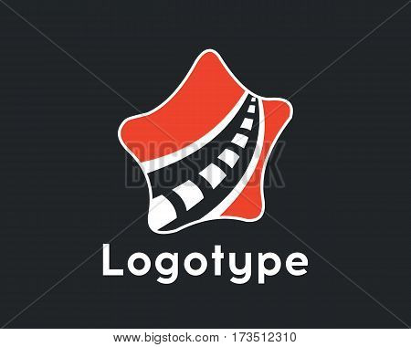 Logotype transport.Logo road and star. Logotype transportation road in red color. Road maintenance. Logo road repair.