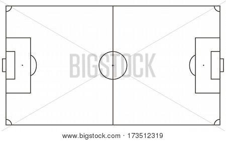 Football field scheme. Standart soccer mackup, Vector ilustration