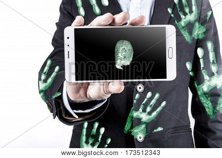 Phone And Handprints
