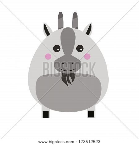 Cute goat cahracter. Children style isolated design element vector illustration.