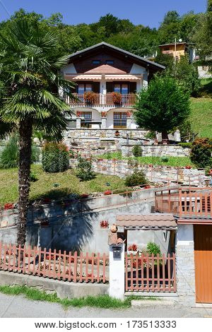 Civiasco, Italy - 11 September 2015: Rural chalet at the village of Civiasco on Piedmont Italy