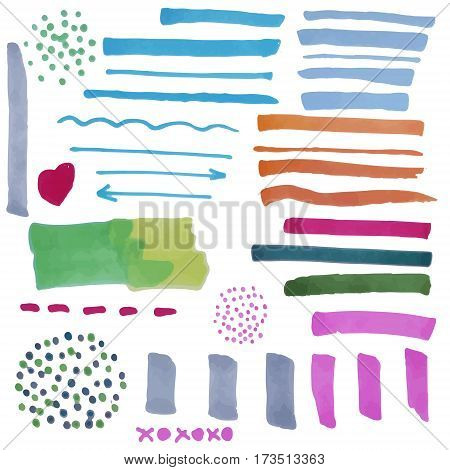 Vector set of hand drawn elements colorful marker strokes