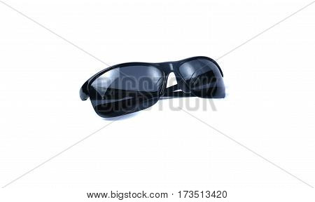 Fashion stilish summer black sunglasses isolated on white background.