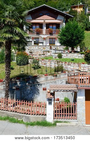 Civiasco,Italy - 11 September 2015: Rural chalet at the village of Civiasco on Piedmont Italy