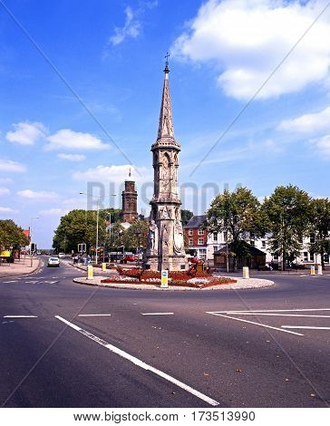 BANBURY, UNITED KINGDOM - AUGUST 2, 1993 - View of the Banbury Cross in the town centre Oxfordshire England UK Western Europe, August 2, 1993.