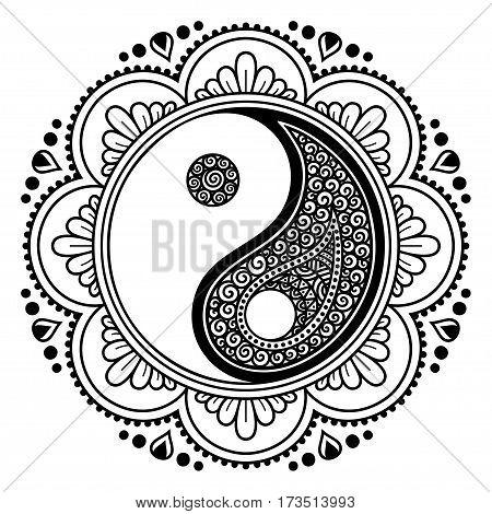 Henna tatoo mandala.Yin-yang decorative symbol. Mehndi style. Mehndi style. Decorative pattern in oriental style. Coloring book page.