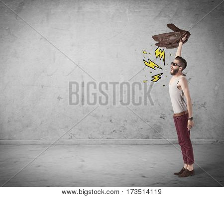 An angry hipster guy in casual clothes shouting heavily with drawn thunder sign illustration concept