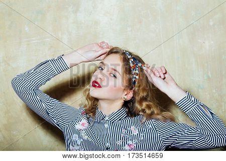 Pretty Girl In Blue Striped Shirt Ties Headband