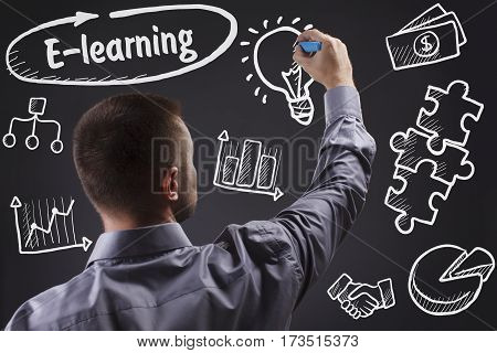 Technology, Internet, Business And Marketing. Young Business Man Writing Word: E-learning