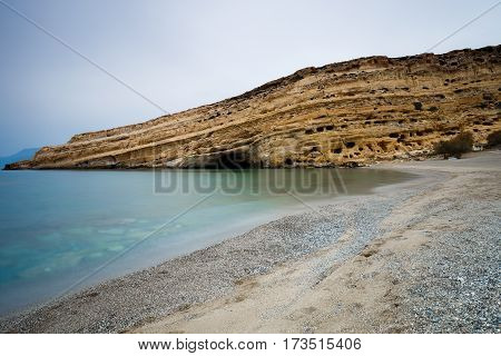 Matala beach at Crete Island Mediterranean Greece
