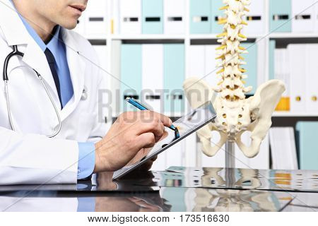 Radiologist doctor with digital tablet checking xray healthcare medical and radiology concept