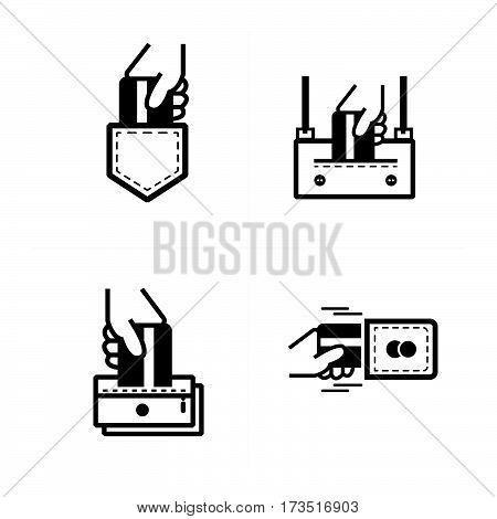 credit card Inset pockets icon vector design support eps10.