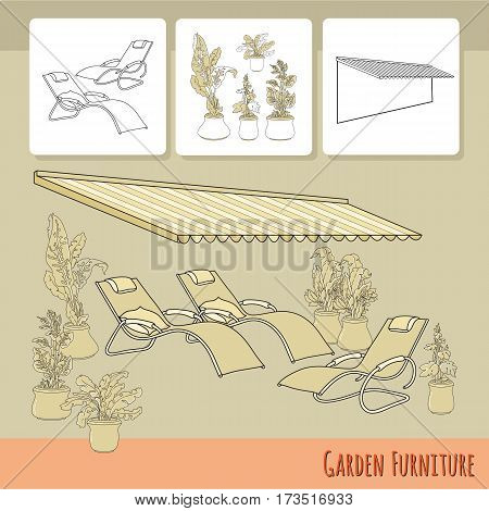 Vector illustration of hand drawn lounge chairs under patio awning and flowers in pot. Garden accessory on beige  background. Landscape design. Summer backyard with outdoor furniture. Rest area.