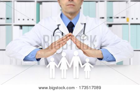 medical health insurance concept doctor hands with family icons