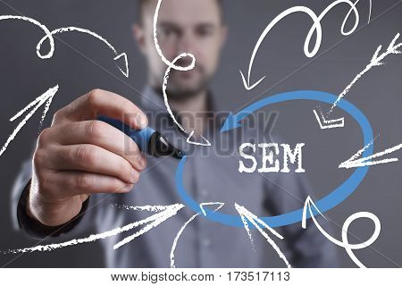 Technology, Internet, Business And Marketing. Young Business Man Writing Word: Sem
