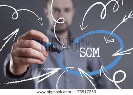 Technology, Internet, Business And Marketing. Young Business Man Writing Word: Scm
