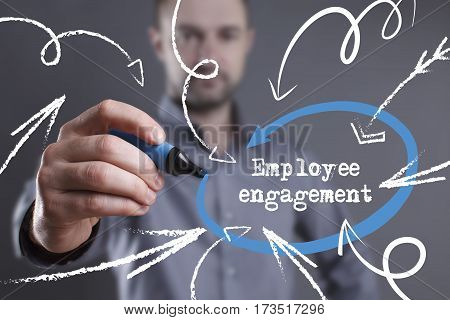 Technology, Internet, Business And Marketing. Young Business Man Writing Word: Employee Engagement