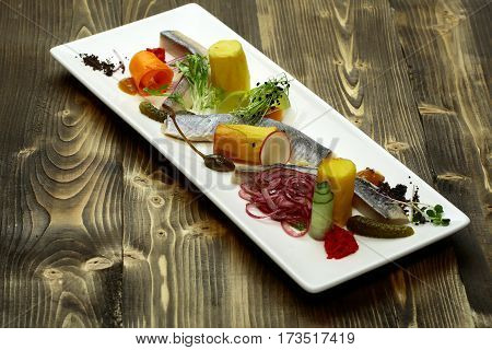 Delicious Snack Of Pickled Herring