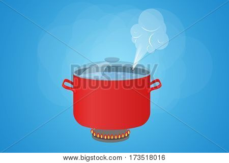 Boiling water in a red pot. The pan with the lid and steam.