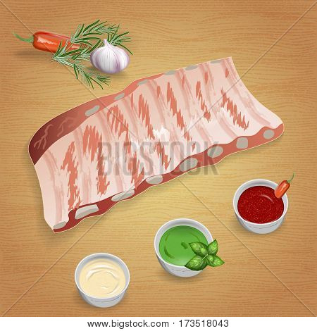 Pork ribs with tasty sauces and spices. Mustard ketchup garlic pepper rosemary. For use as logos on cards in printing posters invitations web design and other purposes.