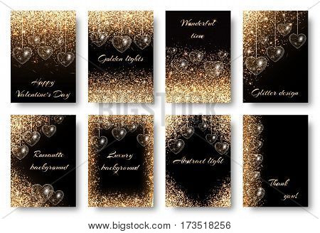Valentines Day background with twinkle lights. Golden dust particles on a black backdrop. Design to celebrate marriage invitation card.