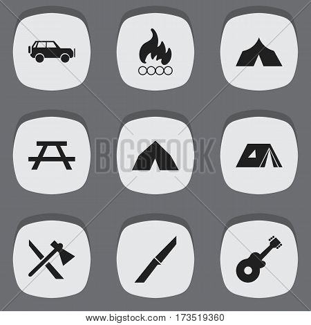 Set Of 9 Editable Trip Icons. Includes Symbols Such As Knife, Tomahawk, Desk And More. Can Be Used For Web, Mobile, UI And Infographic Design.
