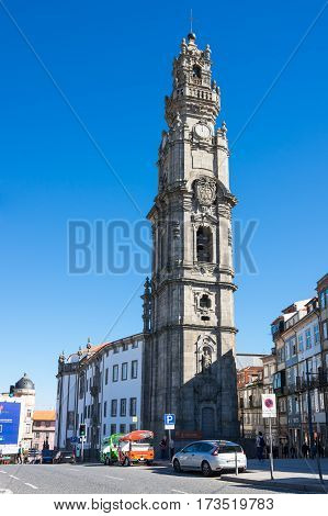 PORTO PORTUGAL - OCTOBER 20 2015: The Clerigos Church is a Baroque church in the city of Porto Portugal. Its tall bell tower the Torre dos Clerigos can be seen from various points of the city and is one of its most characteristic symbols