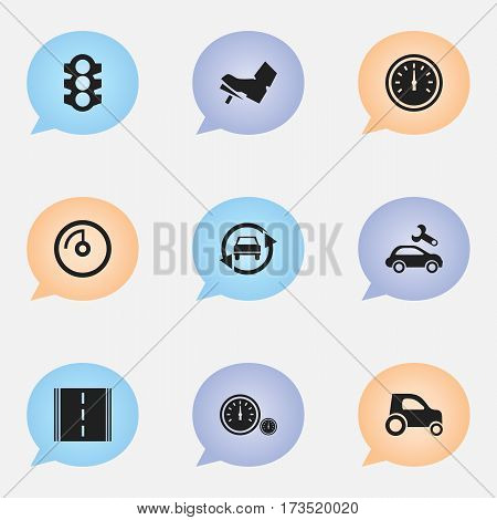 Set Of 9 Editable Vehicle Icons. Includes Symbols Such As Vehicle Car, Stoplight, Automotive Fix And More. Can Be Used For Web, Mobile, UI And Infographic Design.