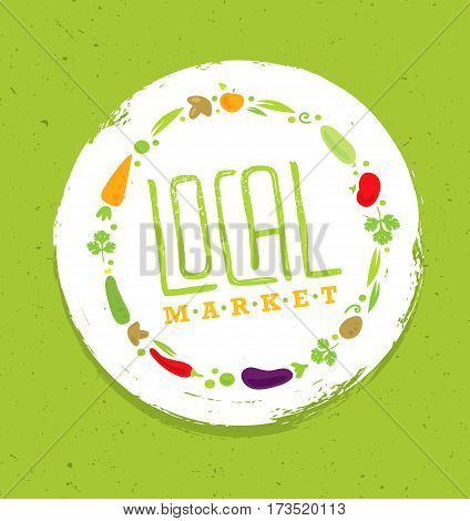 Support Local Farmers. Creative Organic Eco Vector Illustration on Recycled Paper Background.