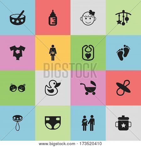 Set Of 16 Editable Baby Icons. Includes Symbols Such As Small Dresses, Nursing Bottle, Twins Babies And More. Can Be Used For Web, Mobile, UI And Infographic Design.