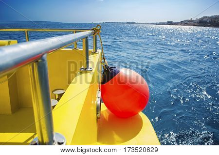 saving buoy on a boat's deck. Concept of safe sea walk.