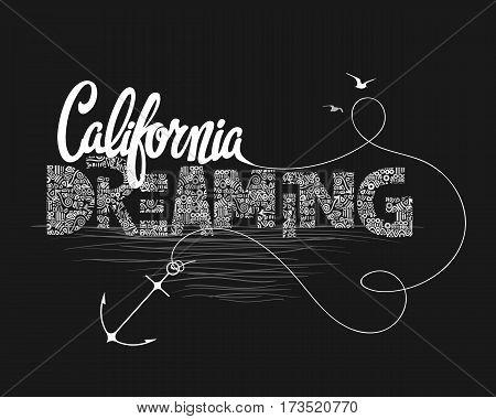 California dreaming typography t-shirt graphics vector illustration