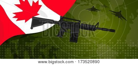 Canada military power army defense industry war and fight country national celebration with gun soldier jet fighter and radar vector